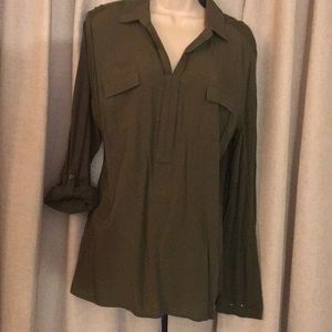 Olive green casual blouse.